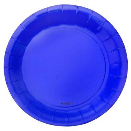 Prato Descartável Cartonado Médio 18cm Azul Escuro - 08 Un