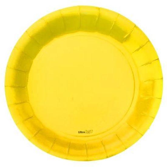 Prato Descartável Cartonado Médio 18cm Amarelo - 08 Un