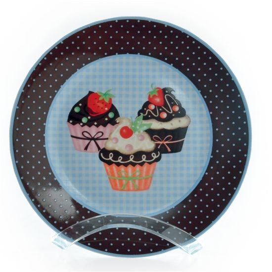 Prato Redondo Cupcake Azul Claro (Tradition) - 4 Jogos com 4 Peças
