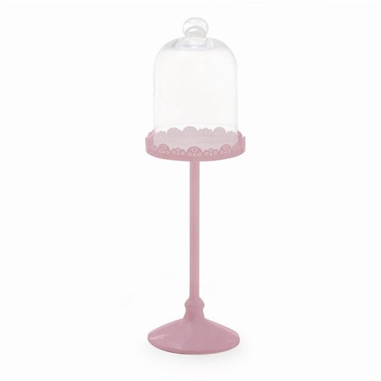 Porta Cupcake Solitário Alto com Cúpula Rosa Claro (Cake)