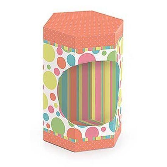 Caixa Sextavada com Visor Candy Colors Coral 10 Un