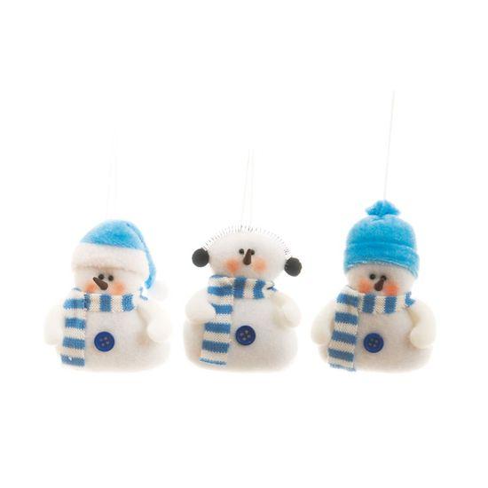 Boneco de Neve com Cachecol Azul e Branca (Petit) - 6 Jogos com 3 Peças
