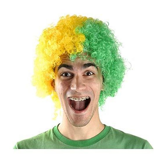 Peruca Black Verde e Amarelo para Festas