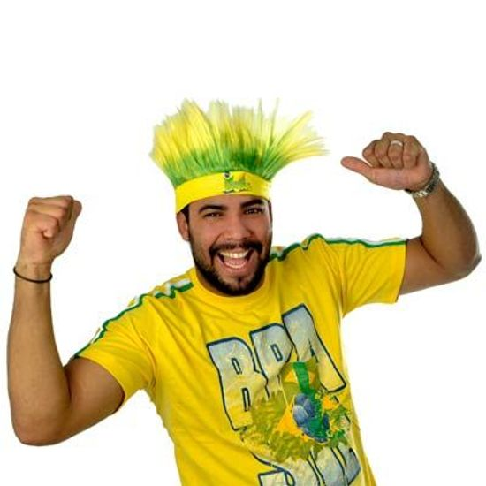 Peruca Arrepiado com Faixa - Verde e Amarelo