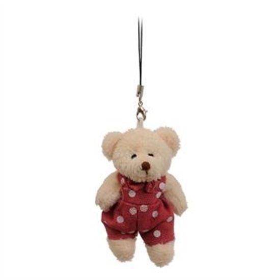 Urso com Macacão Poá Rosa (Patchwork Color)