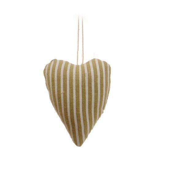 Coração Juta Listrado Verde Claro e Branco (Patchwork Color)
