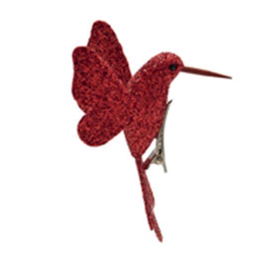 Beija Flor com Glitter Vermelho (Pássaros) - 4 Peças