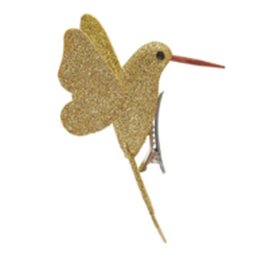 Beija Flor com Glitter Ouro (Pássaros) - 4 Peças