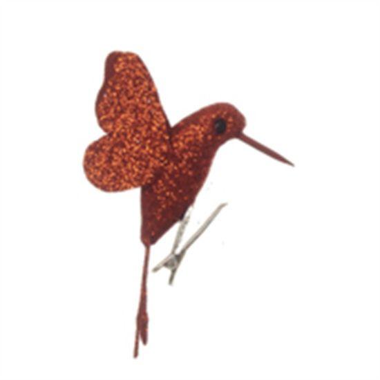 Beija Flor com Glitter Cobre (Pássaros) - 4 Peças