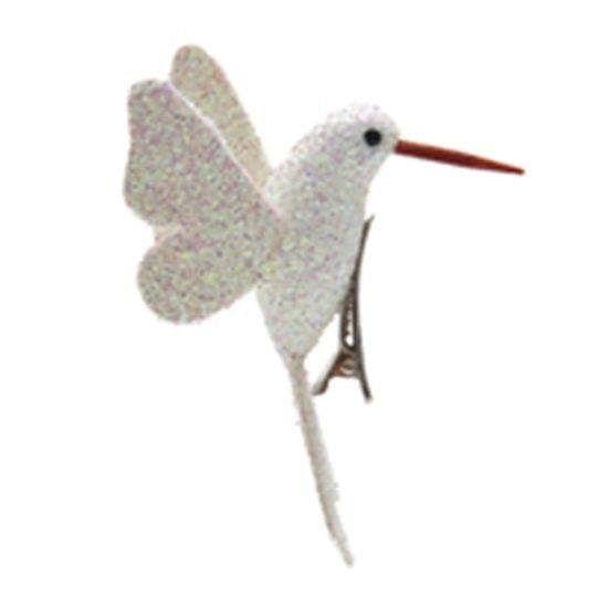 Beija Flor com Glitter Branco (Pássaros) - 4 Peças