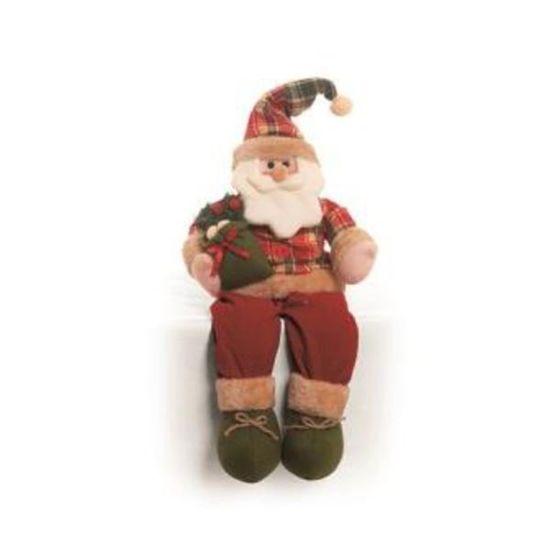 Noel Sentado Segurando Presente Vermelho e Verde Bandeira 25 cm