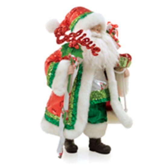 Boneco de Papai Noel com Roupa Paetê com Placa Vermelho e Verde de 50cm