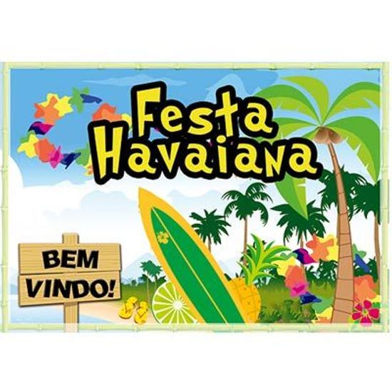 Painel Horizontal Festa Havaiana - 106x75cm