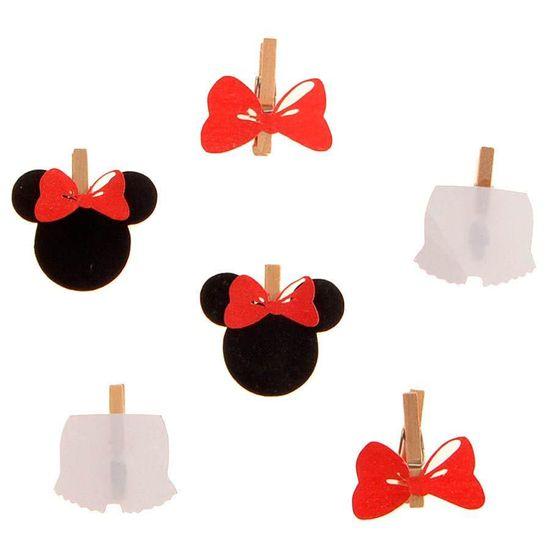 Festa Disney Baby - Mini Prendedor Minnie Mouse - 06 unidades Mini Prendedor Minnie Mouse - 06 unidades