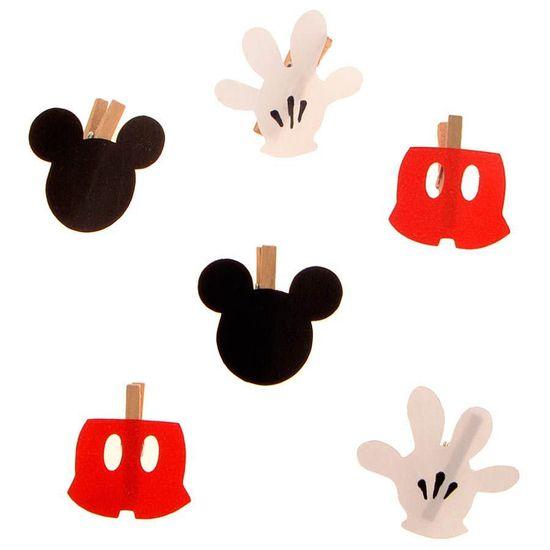 Festa Disney Baby - Mini Prendedor Mickey Mouse - 06 unidades Mini Prendedor Mickey Mouse - 06 unidades