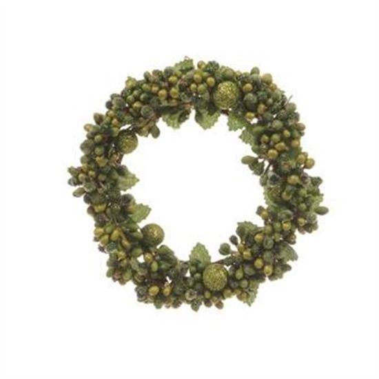 Mini Guirlanda de Natal Folhas Verde Tamanho M (Mini Guirlanda de Natal) - 1 Unidade