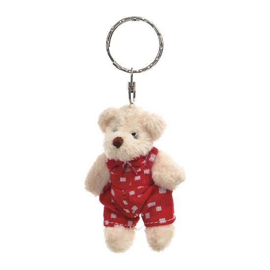 Chaveiro Urso Macacão Branco e Vermelho (Patchwork Vermelho)  - 6 Unidades