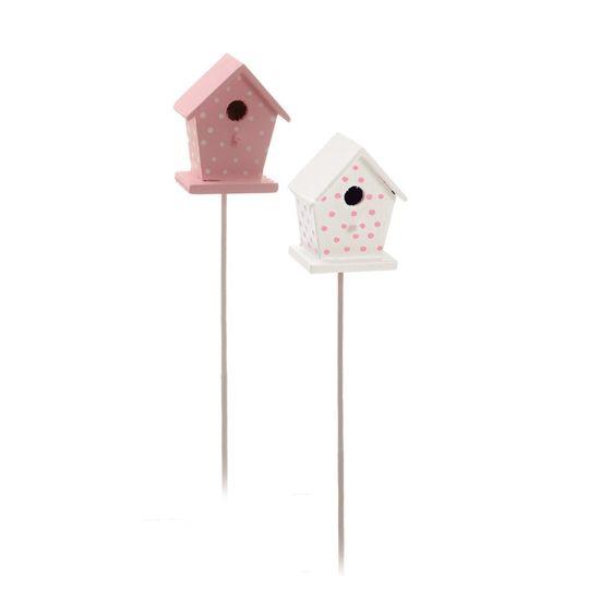 Cromus - Pick Mini Casinha Rosa Claro e Branco ( Complementos ) - 1 Jogo com 4 Peças