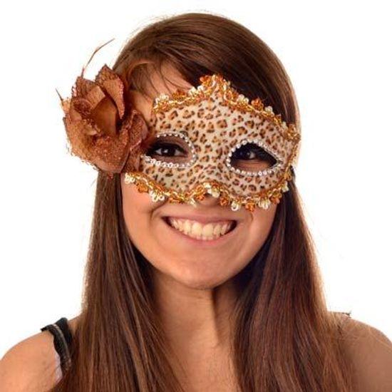 Máscara Veneziana com Flor Lateral Luxo