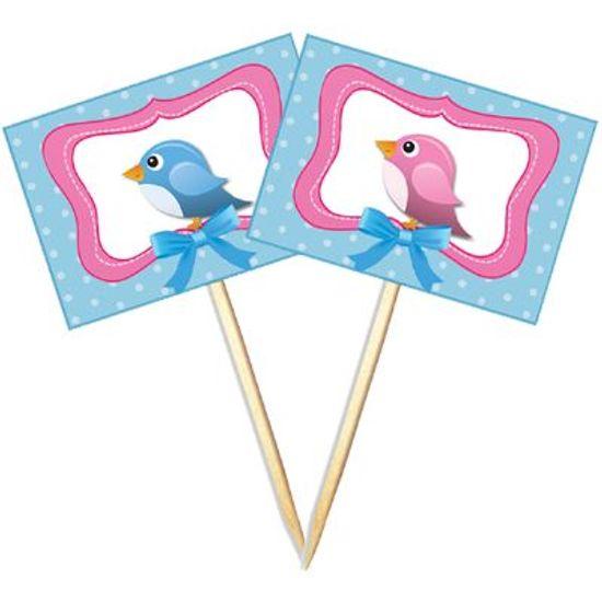 Lolipop para Cupcake Especial Rosa e Azul - 10 unidades