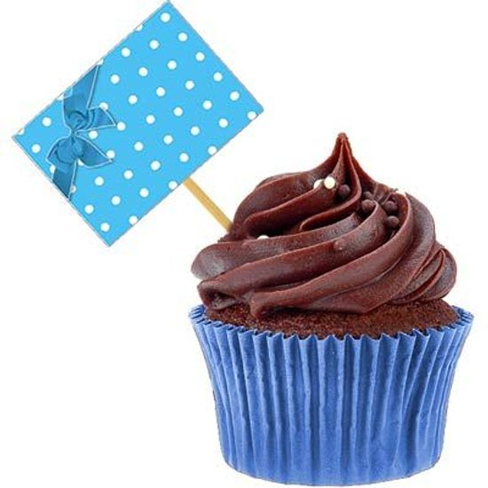 Lolipop para Cupcake Especial Petit Poá Azul - 10 unidades