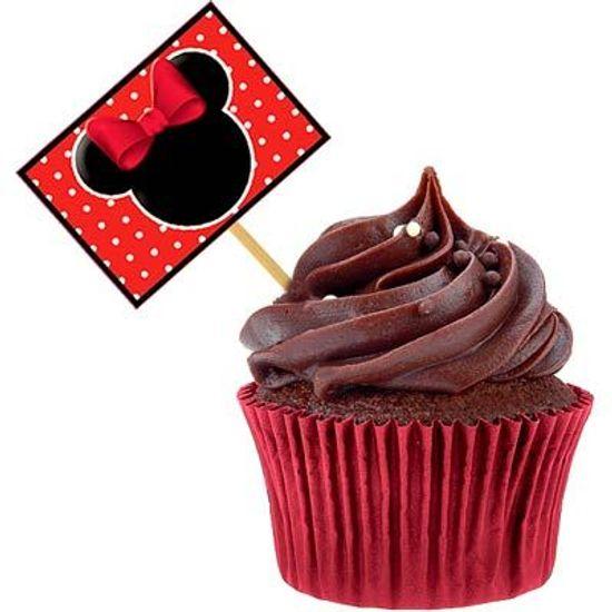 Lolipop para Cupcake Especial Minnie Vermelha - 10 unidades