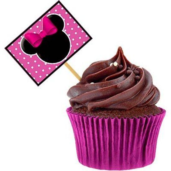 Lolipop para Cupcake Especial Minnie Rosa - 10 unidades