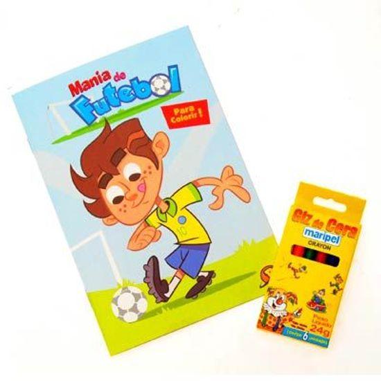 Livro Para Colorir com Giz de Cera Mania de Futebol