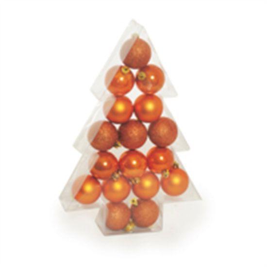 Bola de Natal Fosca, Glitter, Brilho Cobre (Bolas) - Jogo com 17 Peças