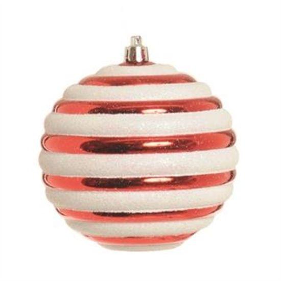 Bolas Listras Vermelho e Branca 10 cm (Bolas)  - 1  Jogo com 6 Peças