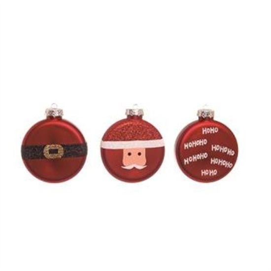 Bola de Natal Achatada Noel 10cm (Enfeites) - 3 Peças