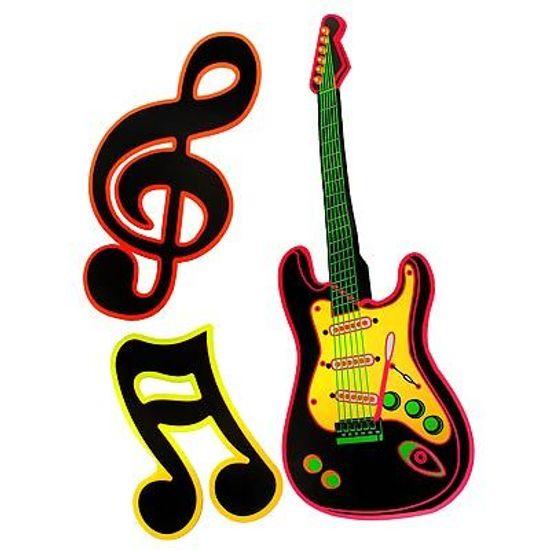 Kit Cartonado Guitarra e Notas Musicais - 06 unidades - BRILHA NA LUZ NEGRA