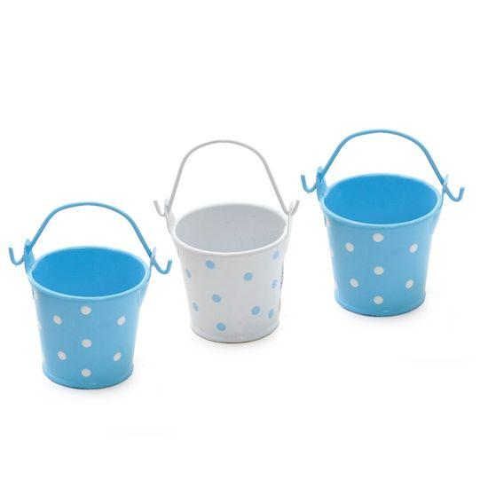 Cromus - Baldinho Poá Azul Claro e Branco ( Complementos ) - 2 Jogos com 3 Peças