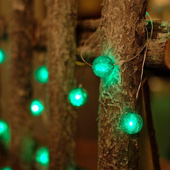 Iluminação de Natal - Pisca Pisca com 20 Leds Bola com Craquelada 3 Pilha AA Verde