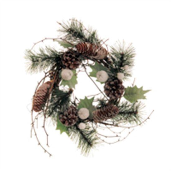 Guirlanda de Natal com Pinha Marrom e Verde Bandeira (Guirlanda de Natal Decoradas) - 1 Unidade