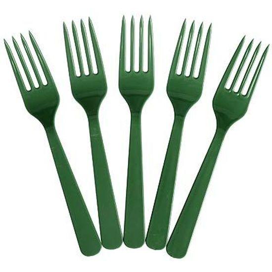 Garfo Plástico para Refeição Happy Line Verde - 10 unidades