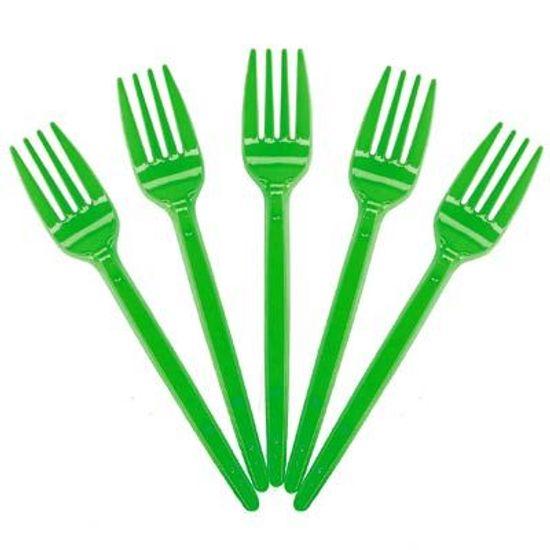 Garfo Descartável para Sobremesa Verde - 50 unidades