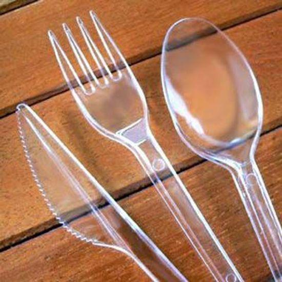 Garfo Descartável Cristal - Refeição - 50 unidades