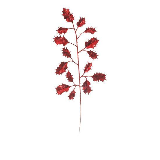 Galho com Folhas e Glitter Vermelho (Galhos Médios) - 6 Un