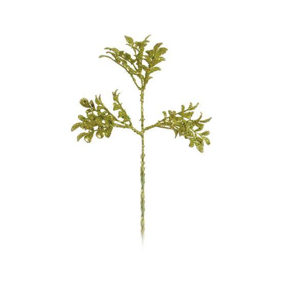 Galho com Flor com Glitter Verde (Galhos Curtos) - 6 Unidades