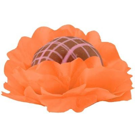 Forminhas Decorativas Floral Linha Seda Laranja - 40 unidades