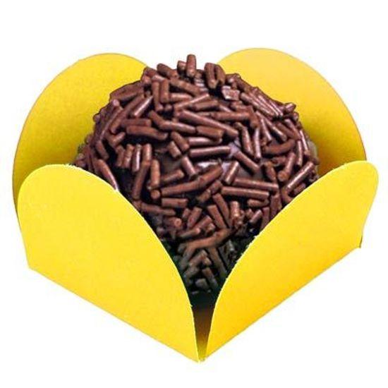 Forminha para Doces Quadrada Liso Amarelo - 44 Un