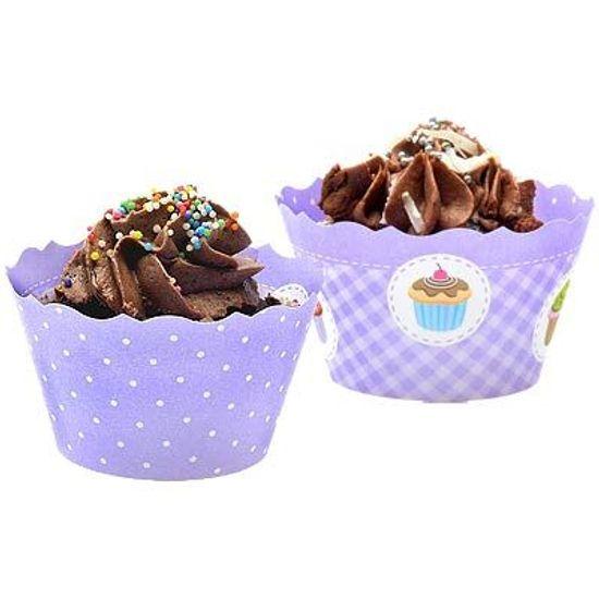 FL - Forma para Cupcake ULTRAFEST Petit Poá/Xadrez Lilás - 12 unidades
