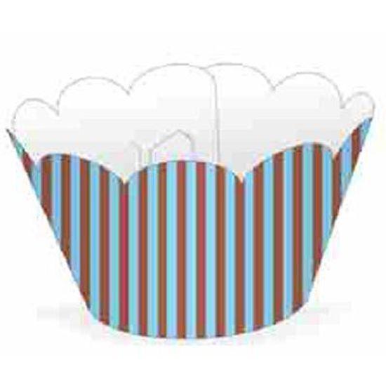 FL - Forma para Cupcake NC Azul e Marrom Listrado - 12 unidades