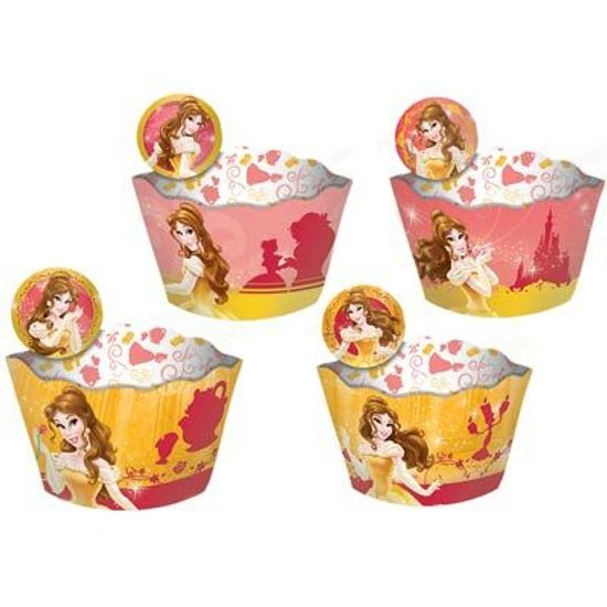 FL - Forma para Cupcake e Enfeite Princesa Bela - 12 unidades