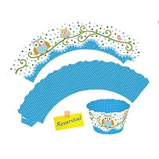Festa Corujinha Azul e Rosa - Forma para Cupcake Corujinha Azul - 12 unidades FL - Forma para Cupcake Corujinha Azul - 12 unidades