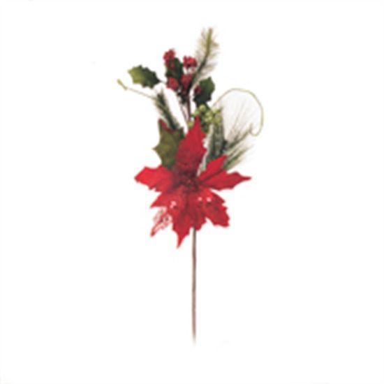Poinsettia com Flor Vermelho e Verde (Flores Cabo Médio)  - 4 Unidades