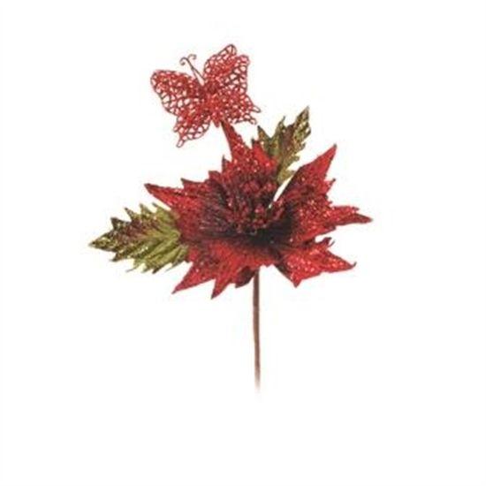 Flor com Borboleta Vermelho (Flores Cabo Curto) - 6 Unidades
