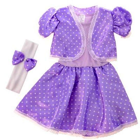 FL - Fantasia Infantil Bebê Anos 60 Lilás com Bolinhas Brancas - EF