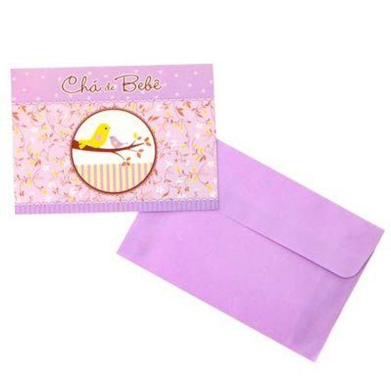 FL - Convite com Envelope Pássaros Chá de Bebê Lilás - 08 unidades